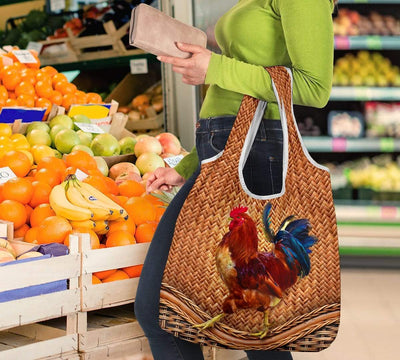 Chicken Rattan Grocery Bag 3-Pack