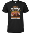 You Get Old When You Stop Farming Retro Style T-shirt Chicken