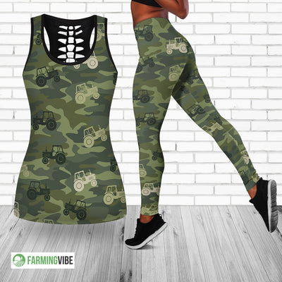 Tractor Camo Hollow Tank Top And Legging Set