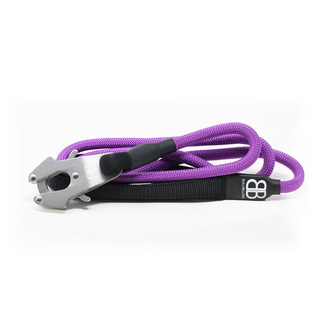 Combat Rope Dog Lead - MATTE PLATINUM - Purple