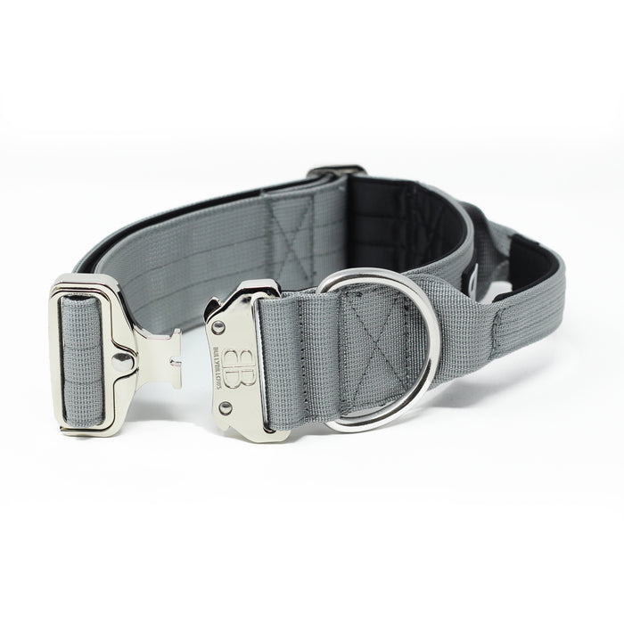 5cm Combat Dog Collar - PLATINUM - Metal Grey v2.0