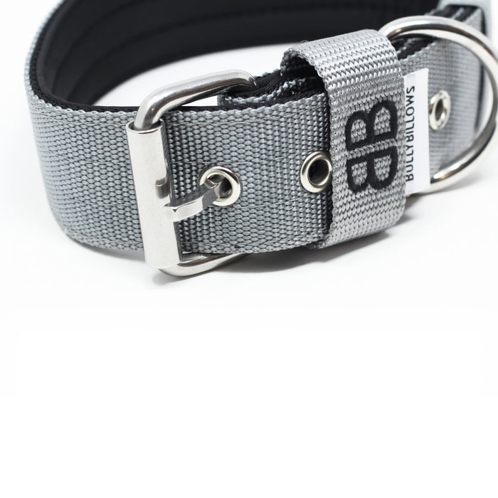 4cm Nylon Dog Collar - Metal Grey v2.0