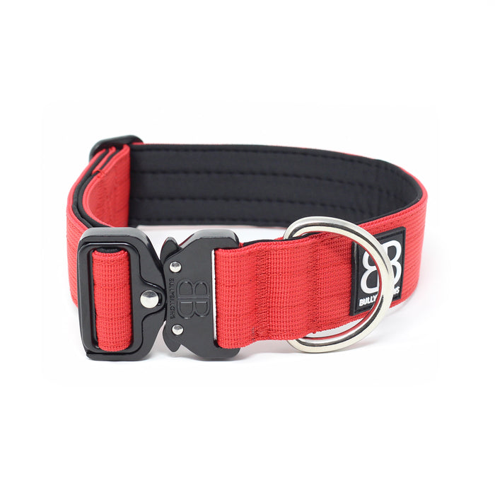 4cm Combat Dog Collar - NO HANDLE - Red v2.0
