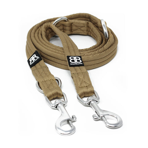Double Ended Dog Training Lead - Military Tan