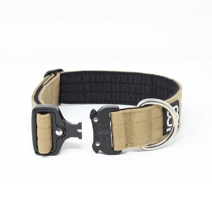 4cm Combat Dog Collar - NO HANDLE - Military Tan v2.0
