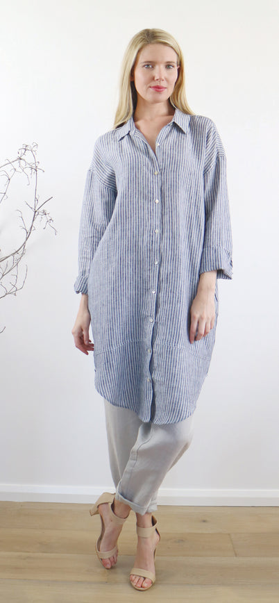 LILY SHIRT DRESS wide stripe blue ONLY 1 SMALL LEFT!