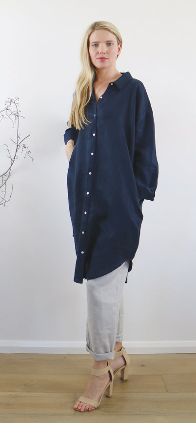 LILY SHIRT DRESS ink navy