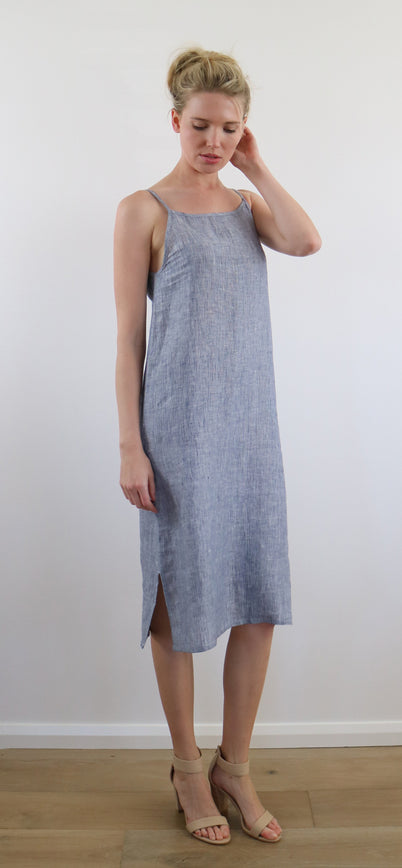 AVA SLIP DRESS thin stripe blue
