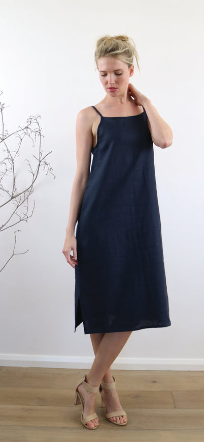 AVA SLIP DRESS ink navy