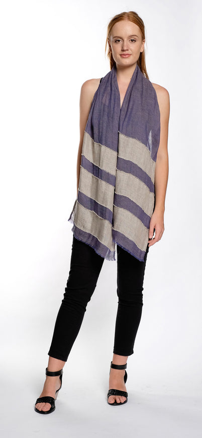 SCARF STRIPE blue / oatmeal