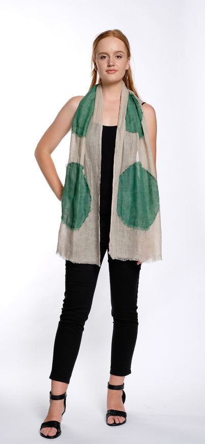 SCARF DOT oatmeal / green