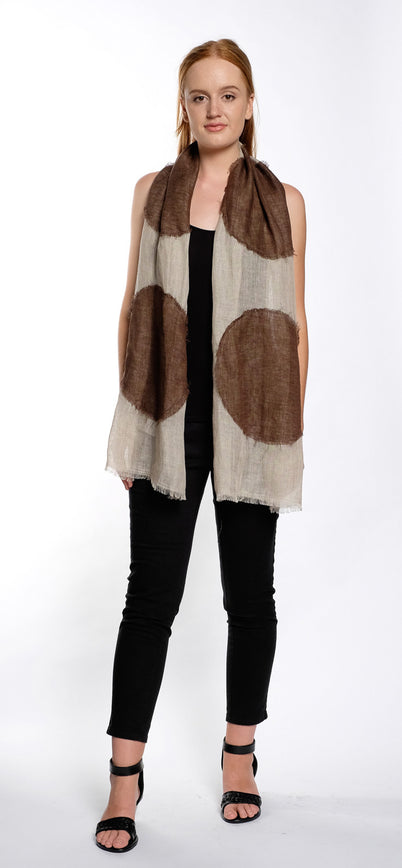 SCARF DOT oatmeal / brown