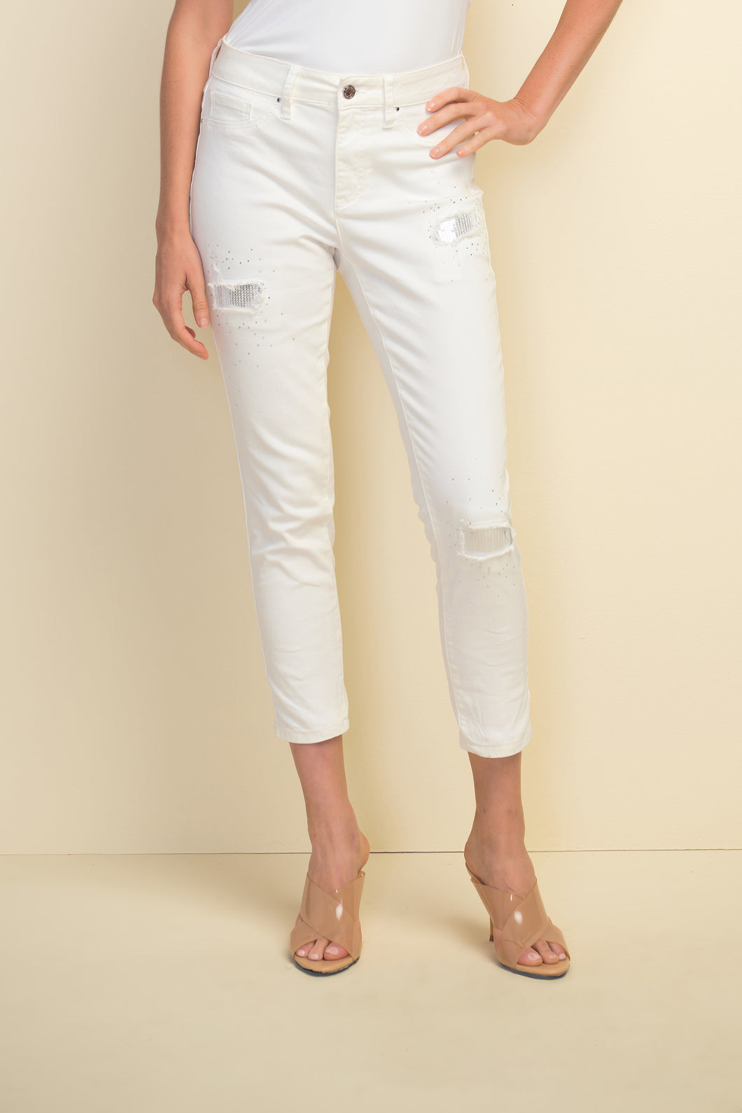 White Sequined Patchwork Jeans - Pooja Boutique