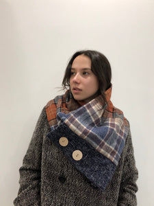 Patchwork Tartan scarf and wood buttons