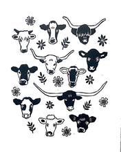 Load image into Gallery viewer, Cows Linocut Print