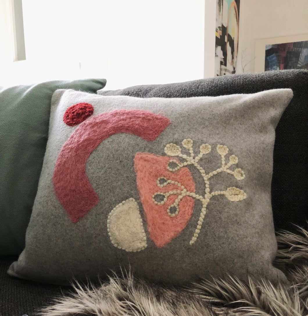 Felted and punch needle wool pillow cover