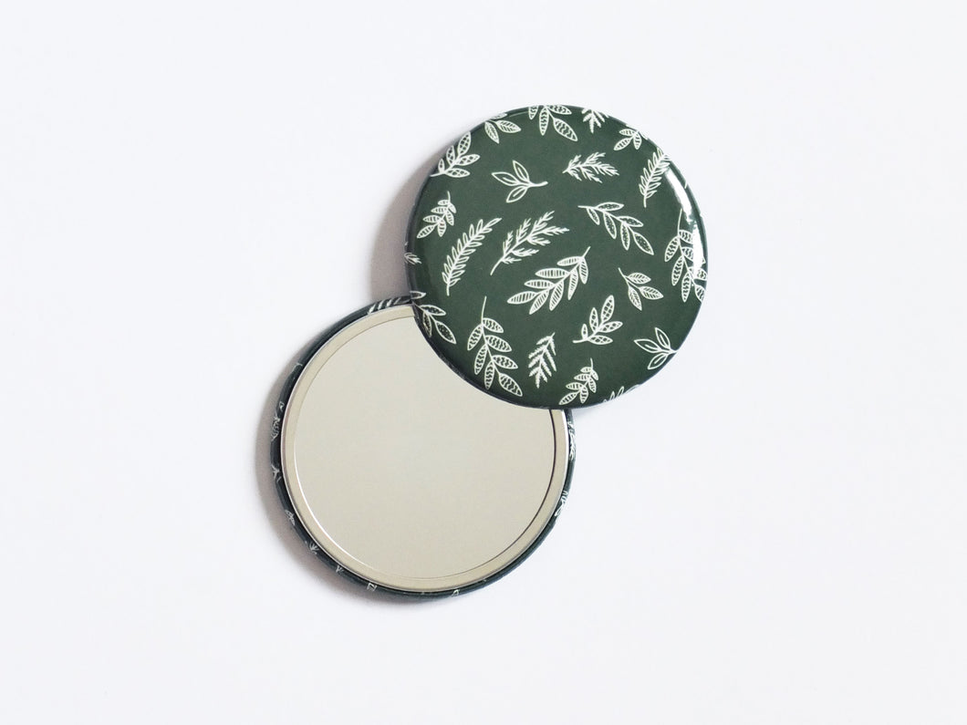 Patterned Pocket Mirror - Forest Fronds Print