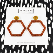 Load image into Gallery viewer, HEXAGON DANGLE EARRINGS - LARGE - Available in various colors