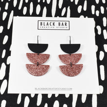 Load image into Gallery viewer, HALF DISC TRI DANGLE EARRINGS - Available in various colors