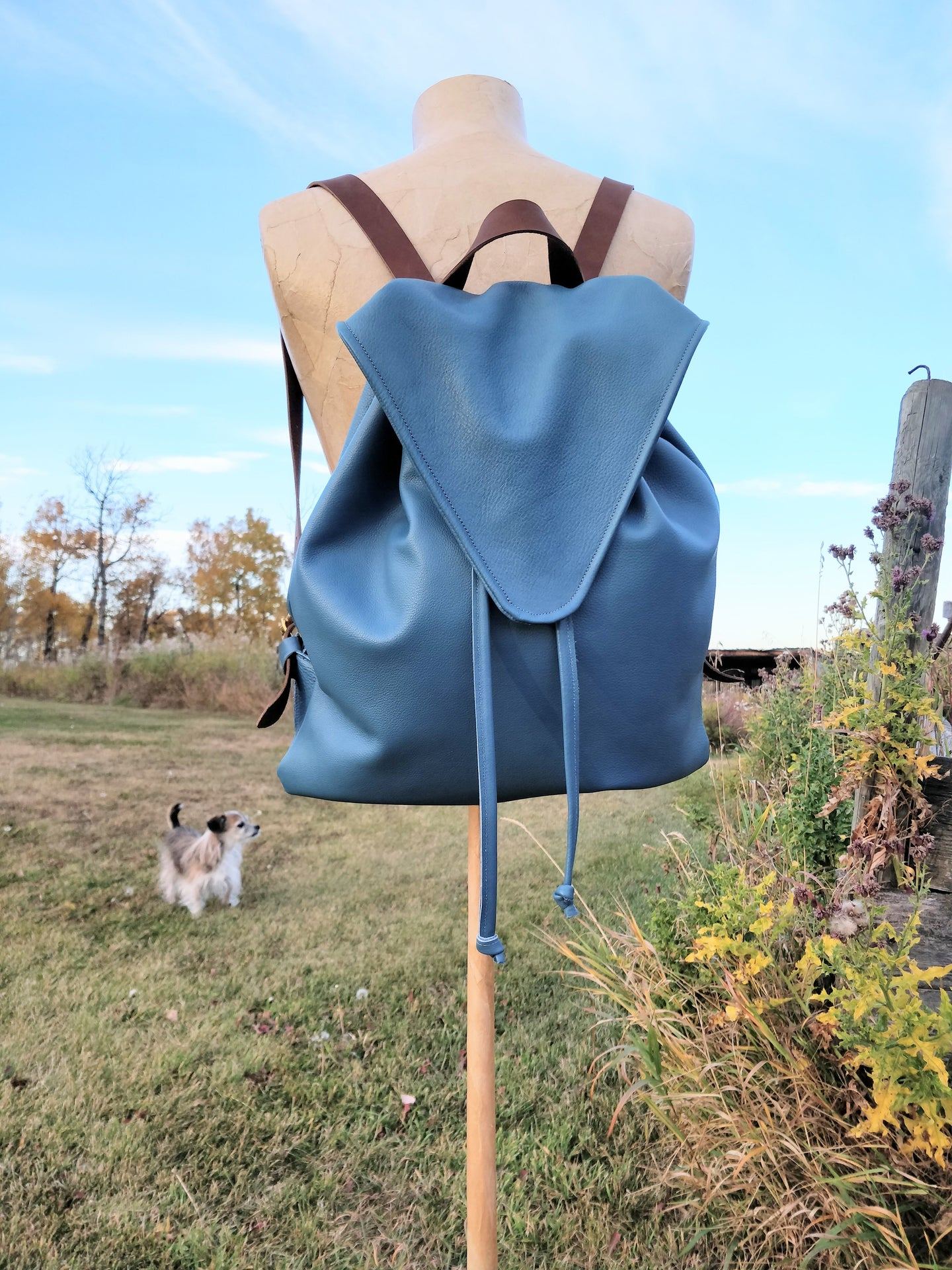 Blue Leather Drawstring Backpack