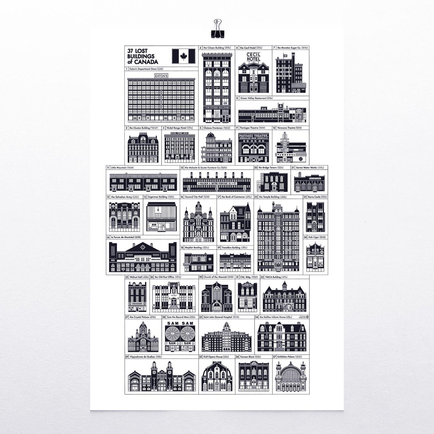 "37 Lost Buildings of Canada 24x36"" silkscreened print"