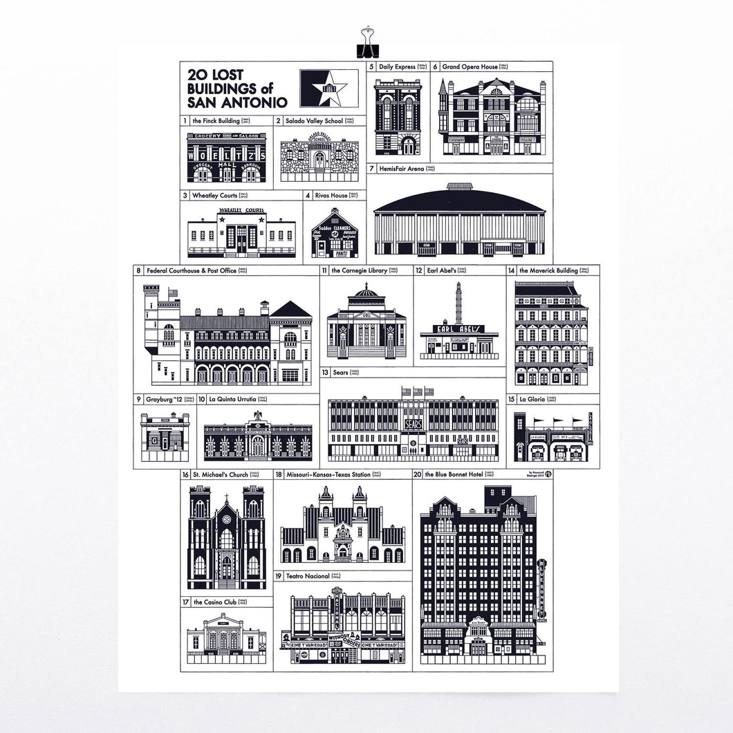 "20 Lost Buildings of San Antonio 17x22"" print"