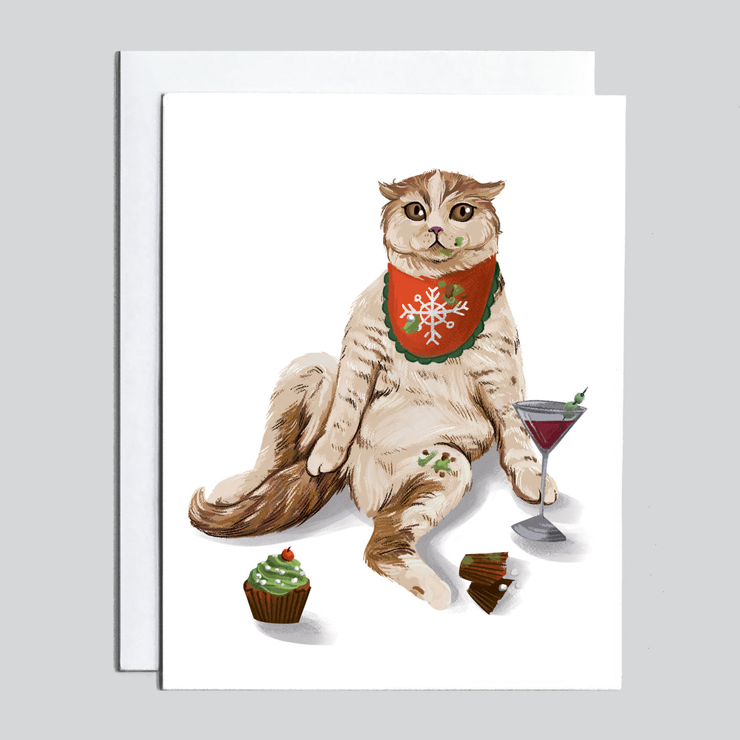 Christmas Card - Drunk Cat