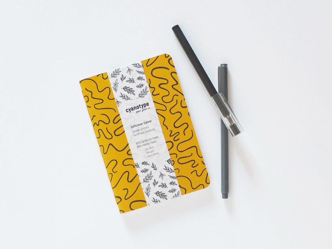 Cahier Notebook in Ochre Squiggle Print