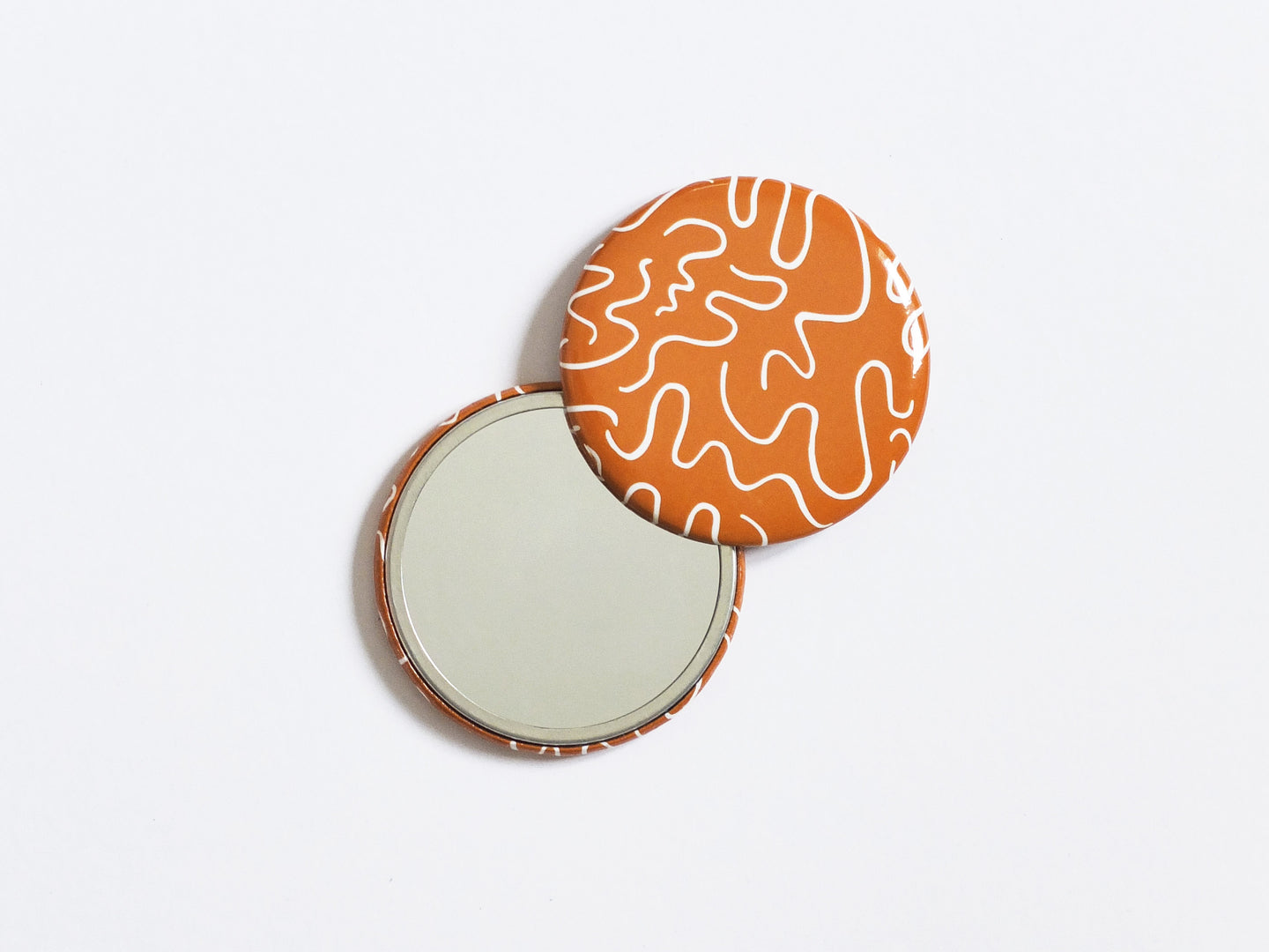 Patterned Pocket Mirror - Rust Squiggle Print