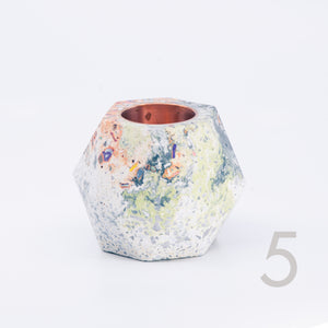 Terrazzo Facets Concrete Candle Holder