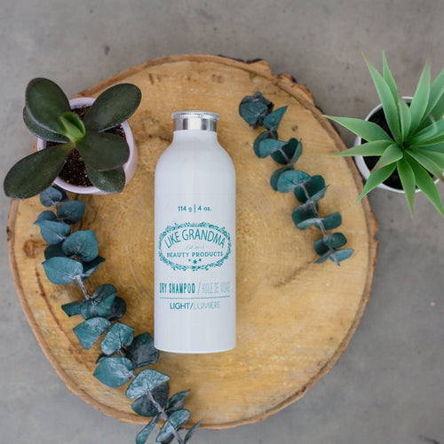 All natural, powder Dry Shampoo for women. In a white sprinkle bottle.