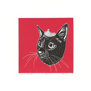 "Royalty No. 3  - Linocut Cat Print - 10x10"" - Multiple Colors"