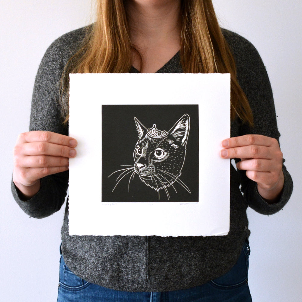 Royalty No. 3  - Linocut Cat Print - 10x10