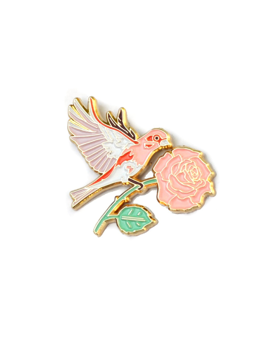 Finch and Rose - Enamel Lapel Pin