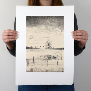 Untitled - Barn Lithograph Print - 14x19.5""