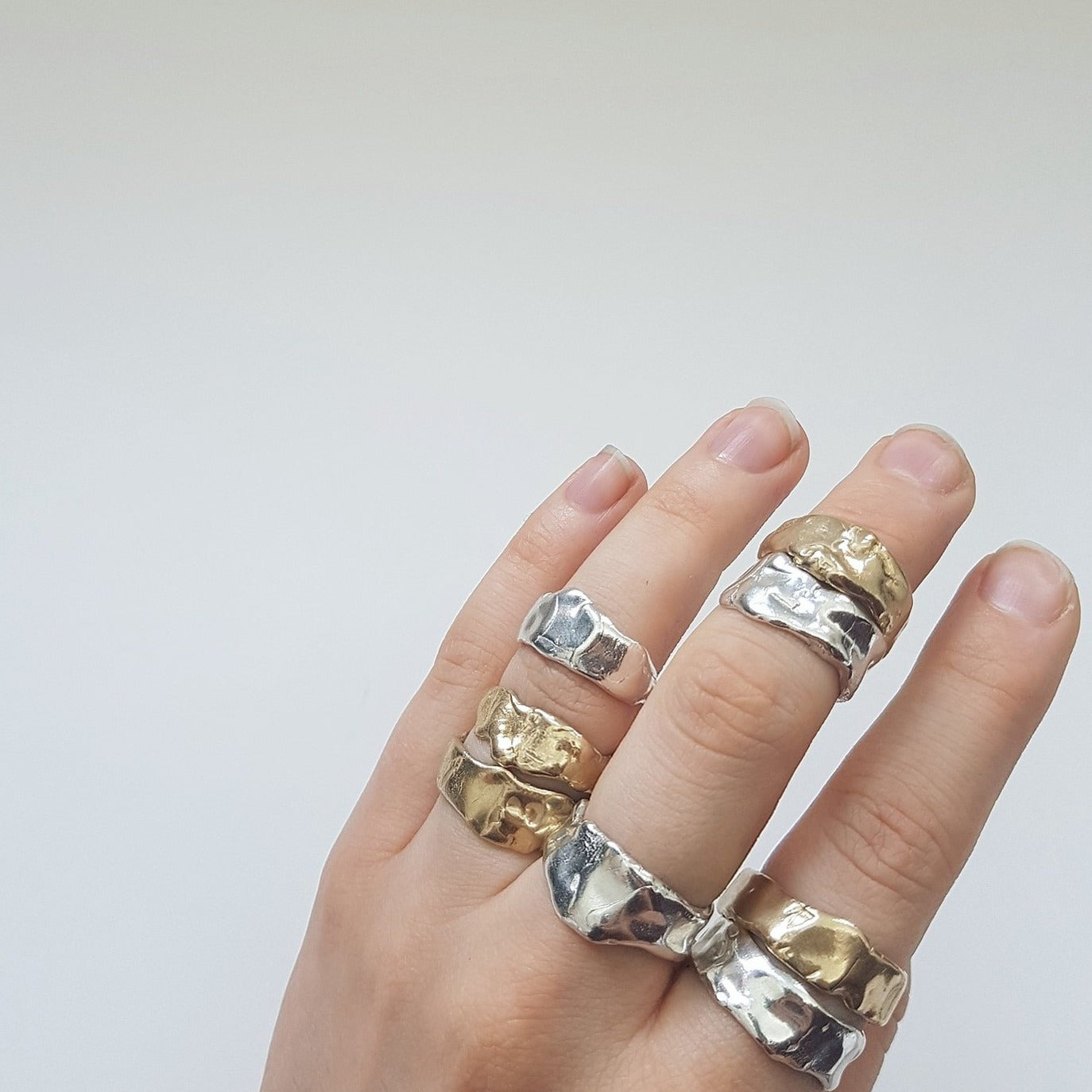 Melted Band Rings