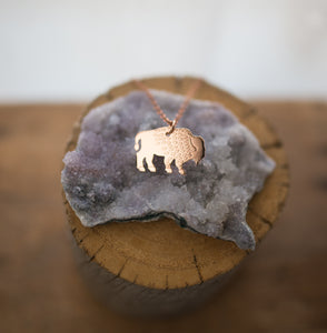 Hand sawn and etched copper bison necklace