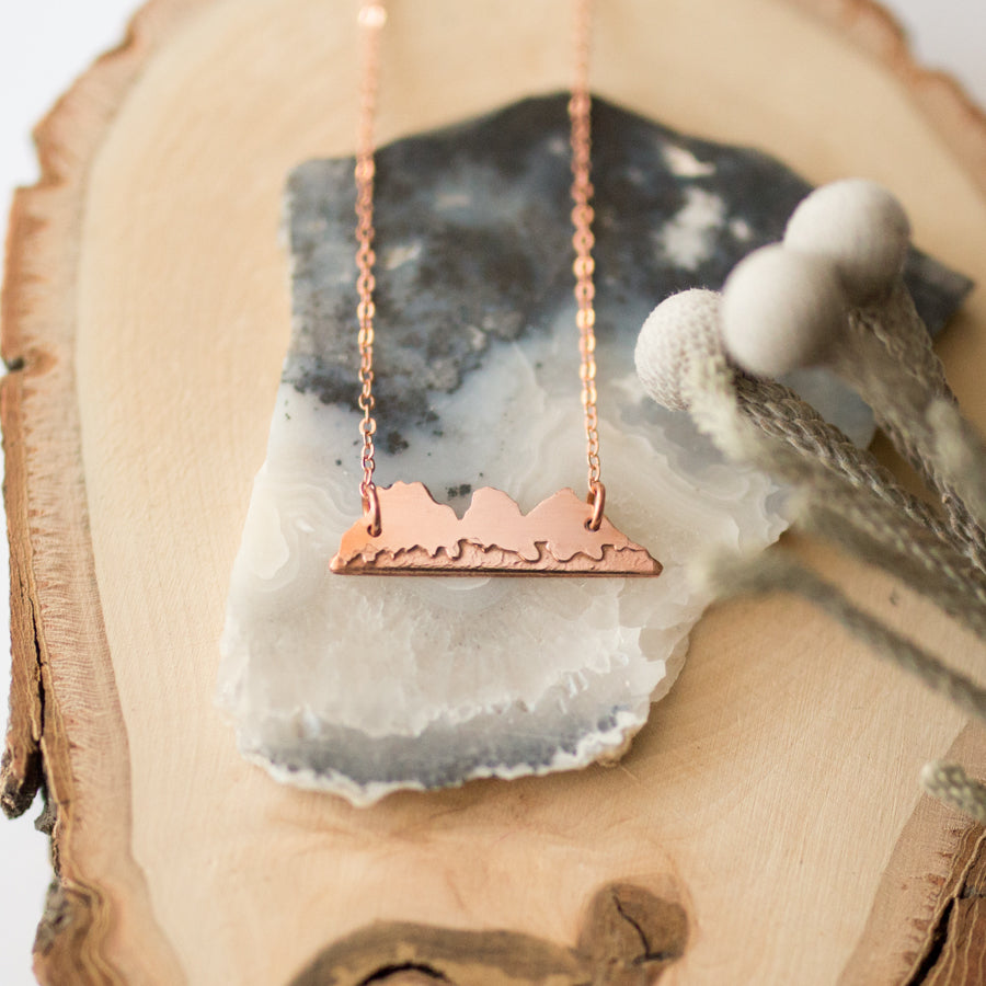 Handmade Copper Etched Tiny Three Sisters Mountain Range Necklace