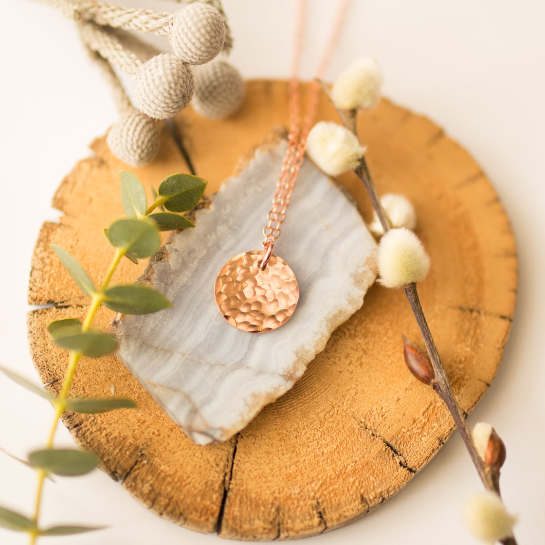 Tiny Hammered Copper Moon Necklace