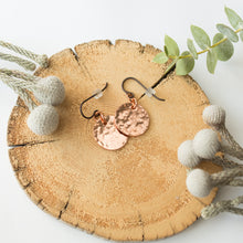 Load image into Gallery viewer, Hammered Copper Moon Earrings with Niobium Hooks
