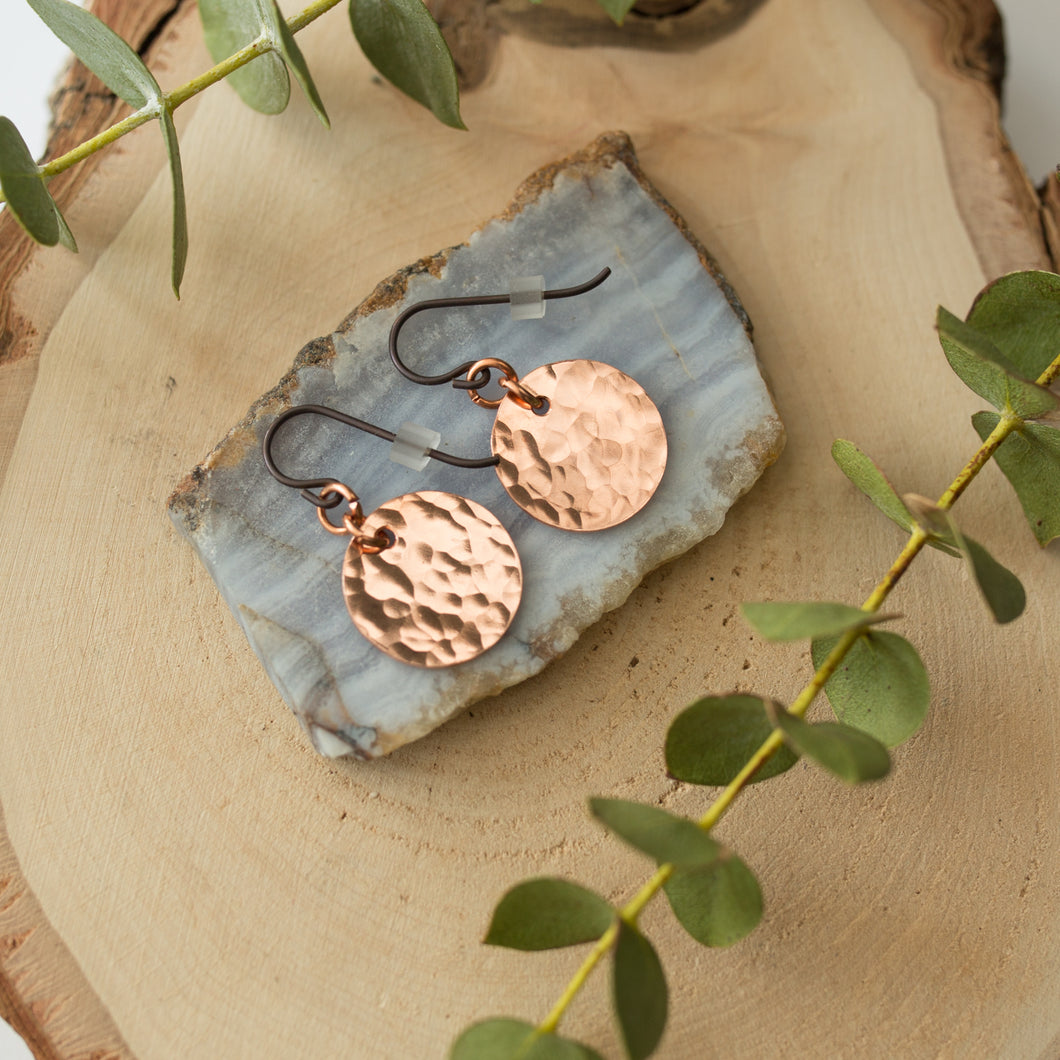 Hammered Copper Moon Earrings with Niobium Hooks