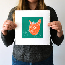 "Load image into Gallery viewer, Royalty No. 3  - Linocut Cat Print - 10x10"" - Multiple Colors"