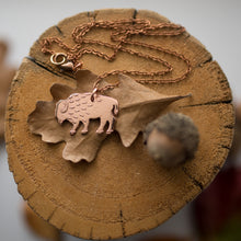 Load image into Gallery viewer, Hand sawn and etched copper bison necklace