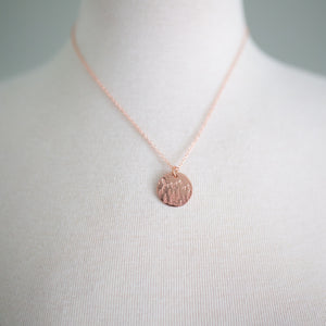 Handmade Mountains & Forest Stamped Copper Necklace