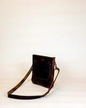 Load image into Gallery viewer, Leather Crossbody Purse made with Horween Burgundy Chromexcel