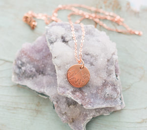 Handmade Copper Small Circular Mountain Etched Pendant Necklace