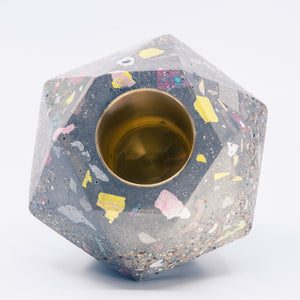 Large Terrazzo Facets Concrete Candle Holder