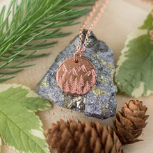 Load image into Gallery viewer, Handmade Mountains & Forest Stamped Copper Necklace