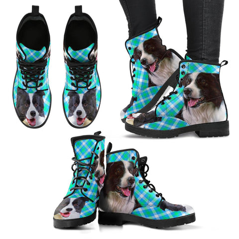 New Border Collie Print Boots For Women