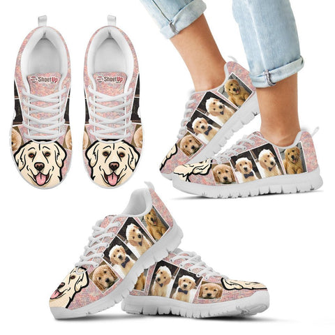 Unique Golden Retriever Collage Print Running Shoes For Kids